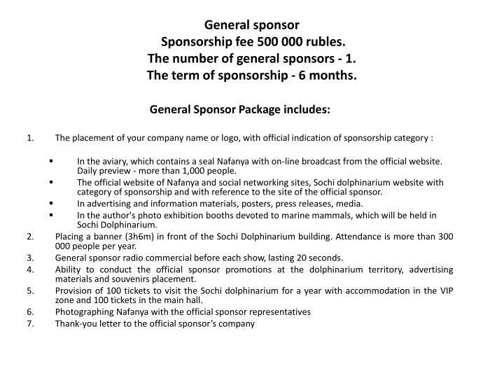 General sponsor