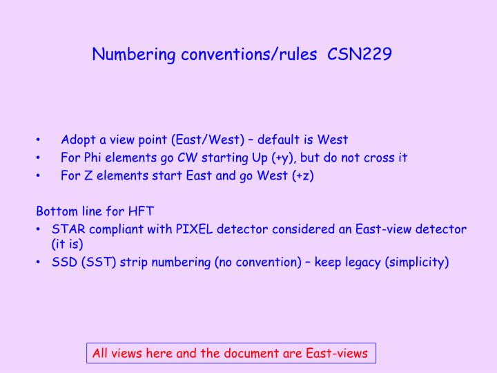 N umbering conventions rules csn229
