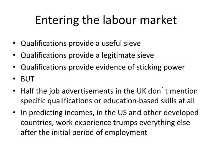 Entering the labour market