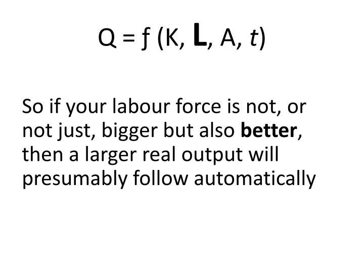 Q = ƒ (K,