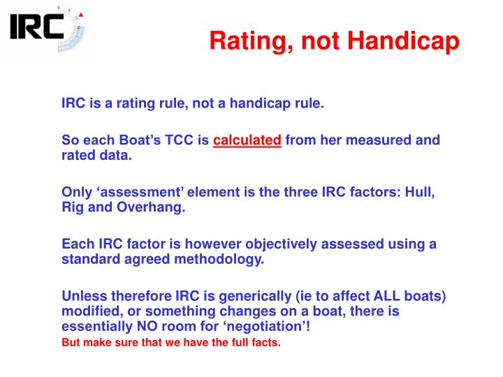 Rating, not Handicap