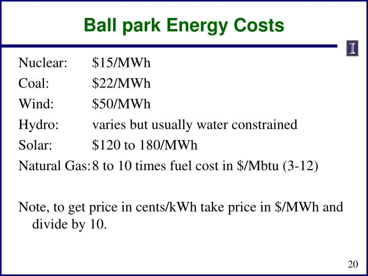 Ball park Energy Costs