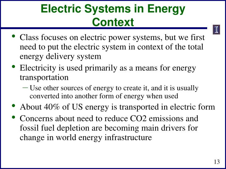 Electric Systems in Energy Context