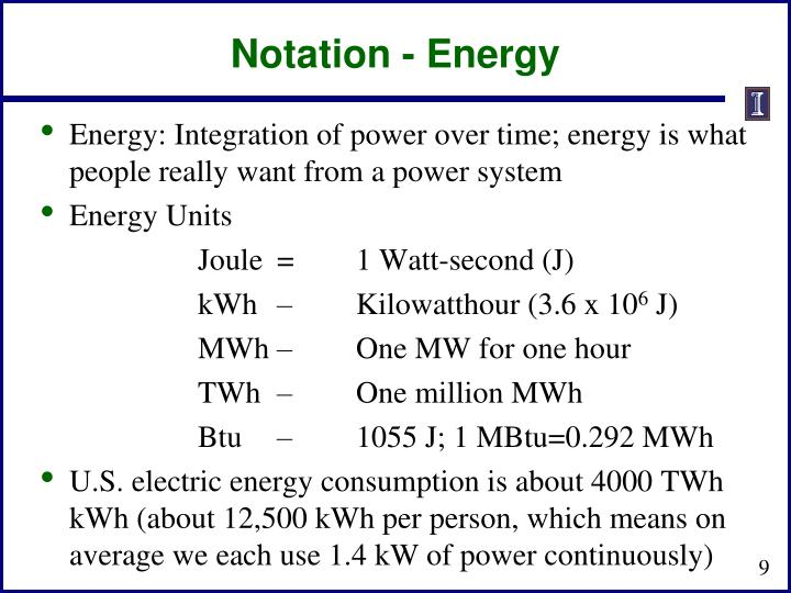 Notation - Energy