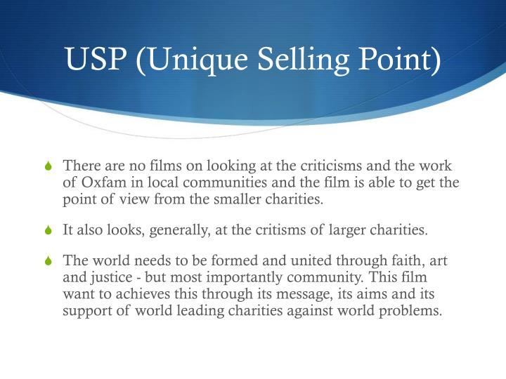 USP (Unique Selling Point)