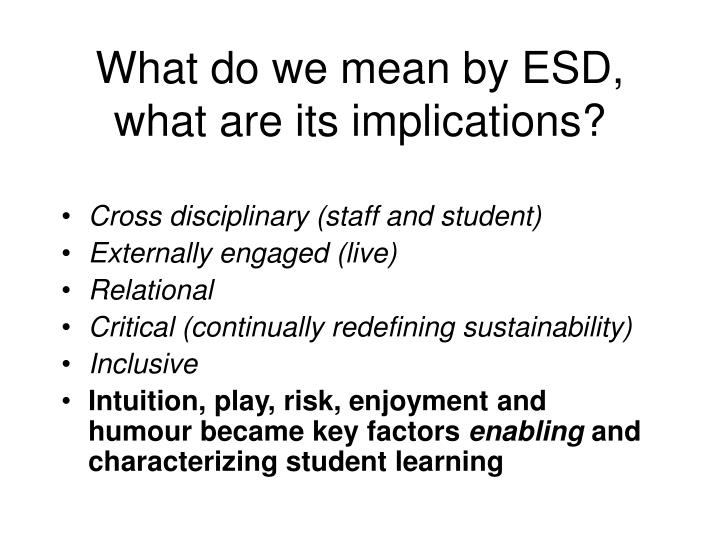 What do we mean by ESD, what are its implications?