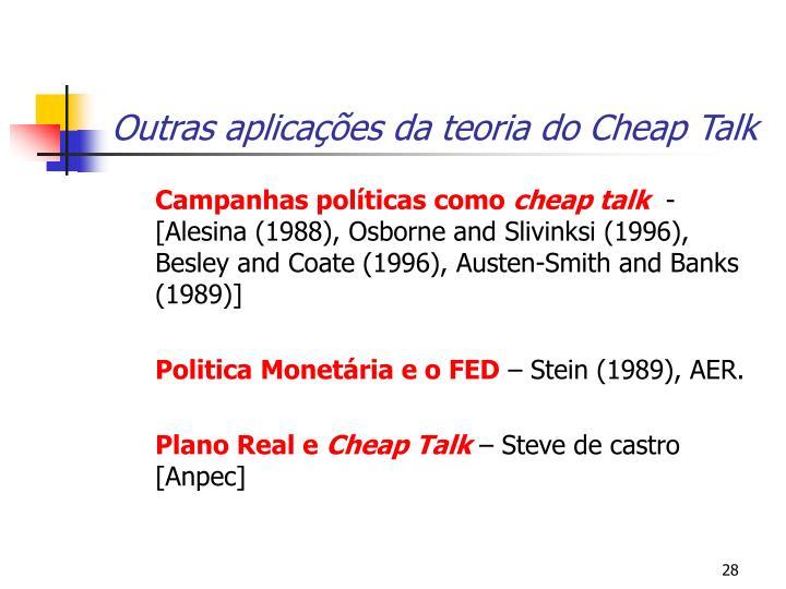 Outras aplicações da teoria do Cheap Talk