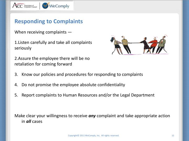Responding to Complaints