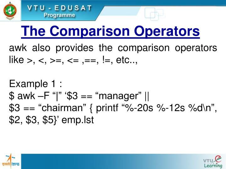 The Comparison Operators