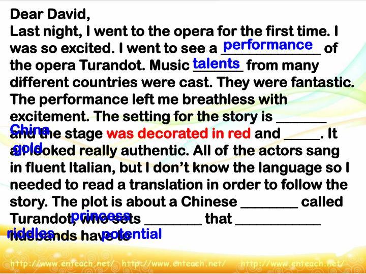 Dear David,