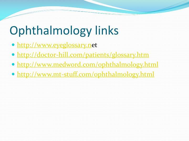 Ophthalmology links