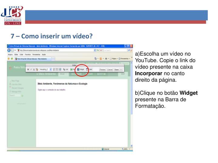 7 – Como inserir um vídeo?