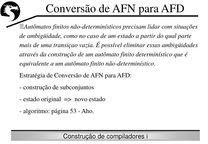 Conversão de AFN para AFD
