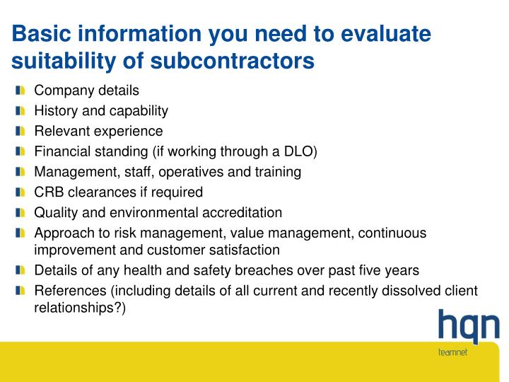 Basic information you need to evaluate suitability of subcontractors