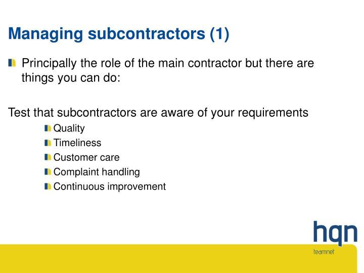 Managing subcontractors (1)
