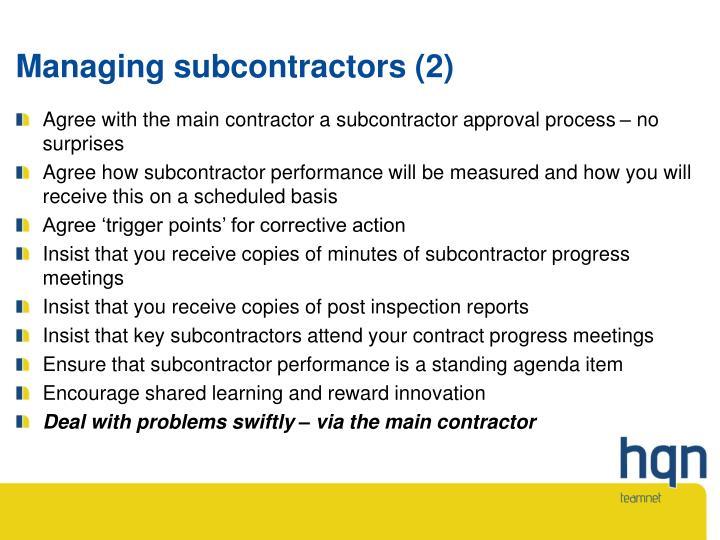 Managing subcontractors (2)