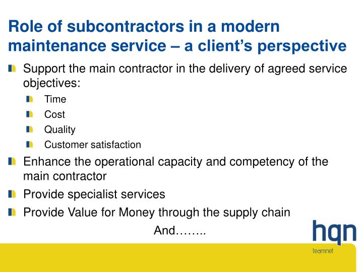 Role of subcontractors in a modern maintenance service – a client's perspective