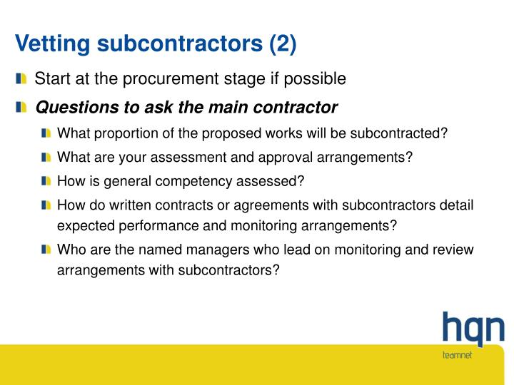 Vetting subcontractors (2)