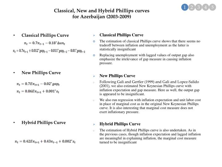 Classical, New and Hybrid Phillips curves