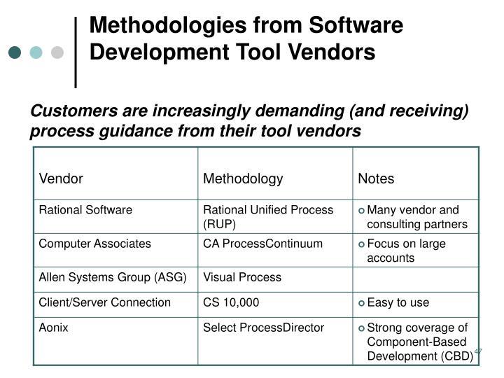 Methodologies from Software Development Tool Vendors