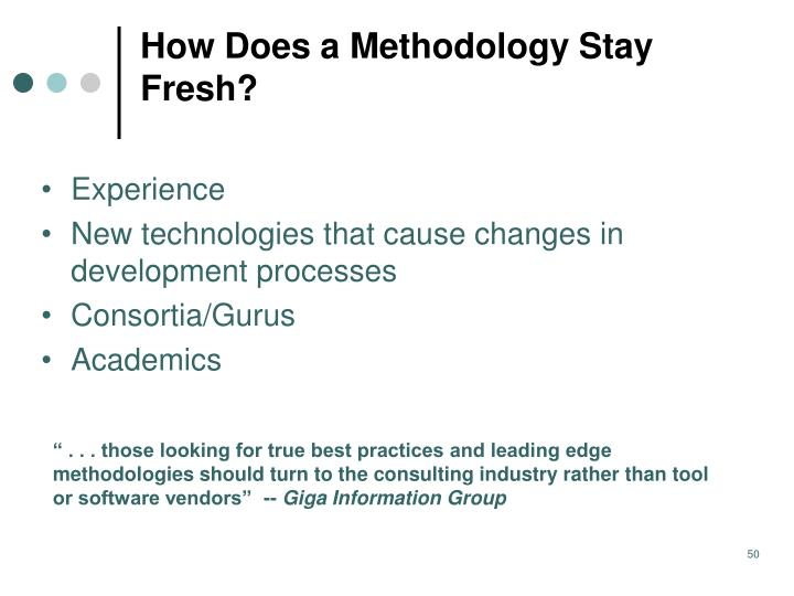 How Does a Methodology Stay Fresh?