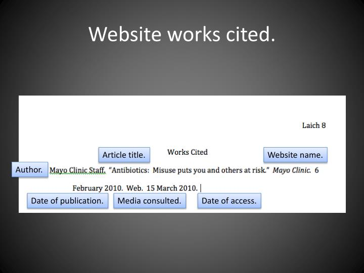 Website works cited.