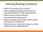 selecting reading procedures