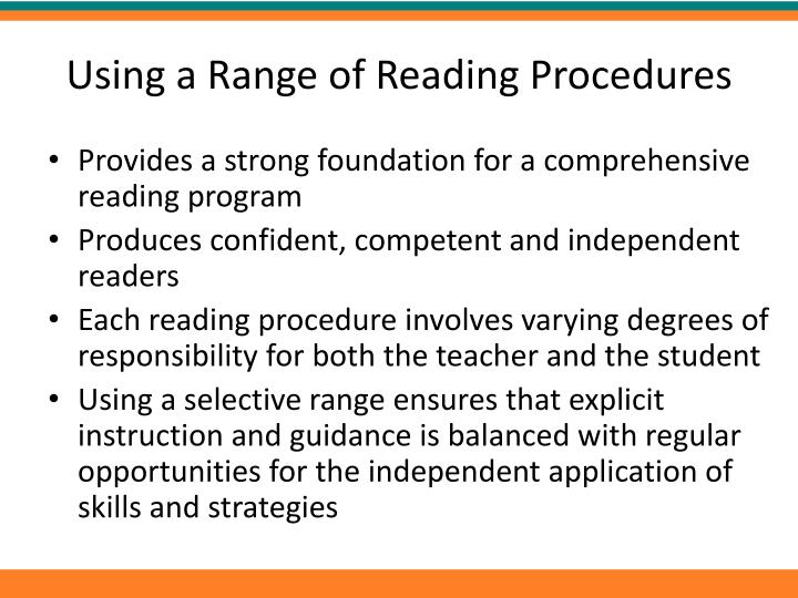 Using a Range of Reading Procedures