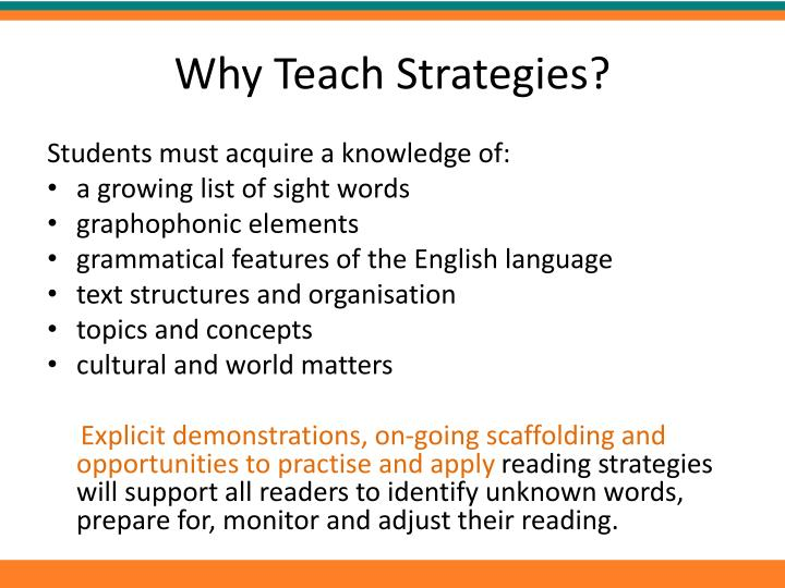 Why Teach Strategies?