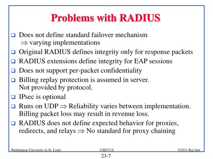 Problems with RADIUS