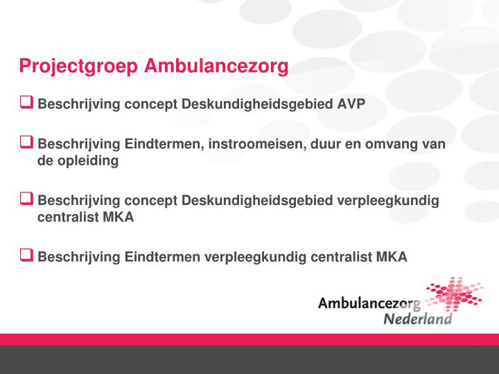 Projectgroep Ambulancezorg