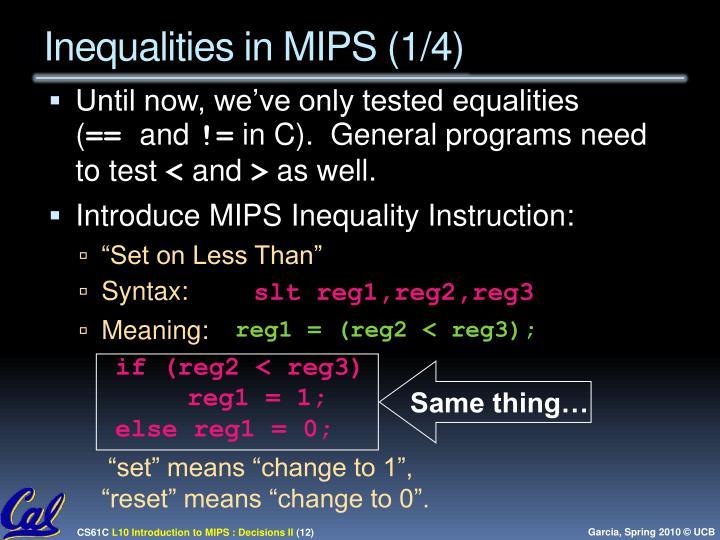 Inequalities in MIPS (1/4)