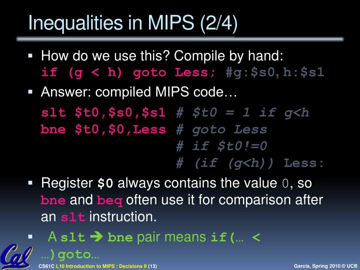 Inequalities in MIPS (2/4)