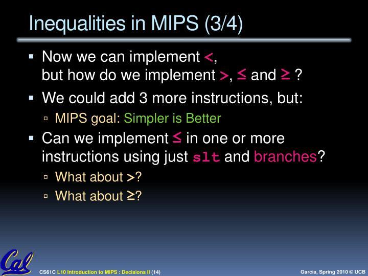 Inequalities in MIPS (3/4)