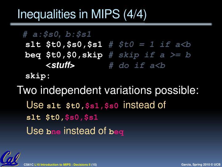 Inequalities in MIPS (4/4)