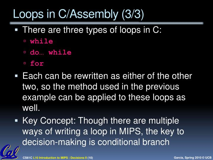 Loops in C/Assembly (3/3)