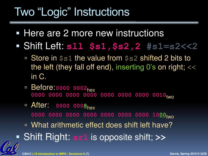 "Two ""Logic"" Instructions"