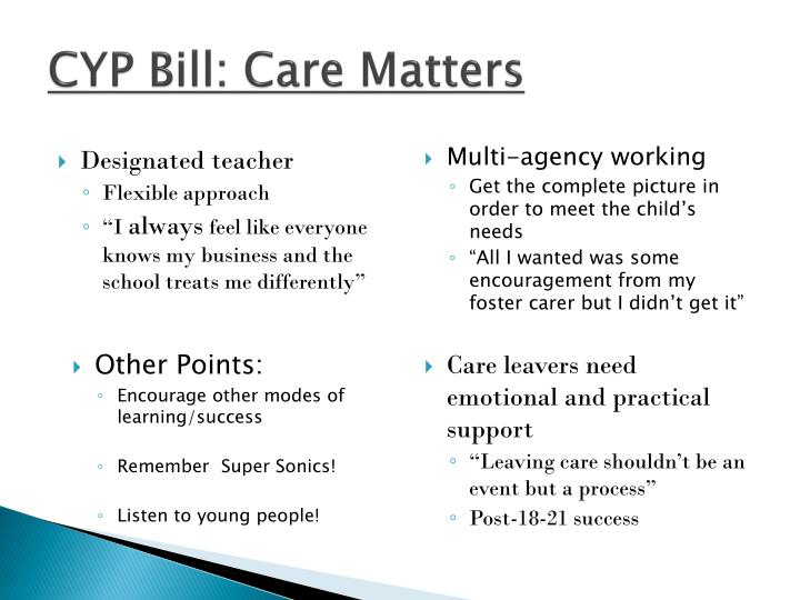 CYP Bill: Care Matters