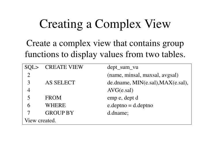 Creating a Complex View