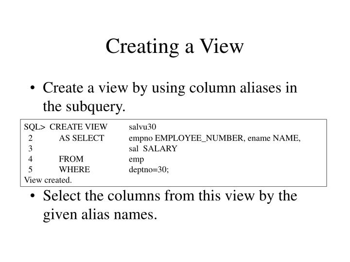 Creating a View