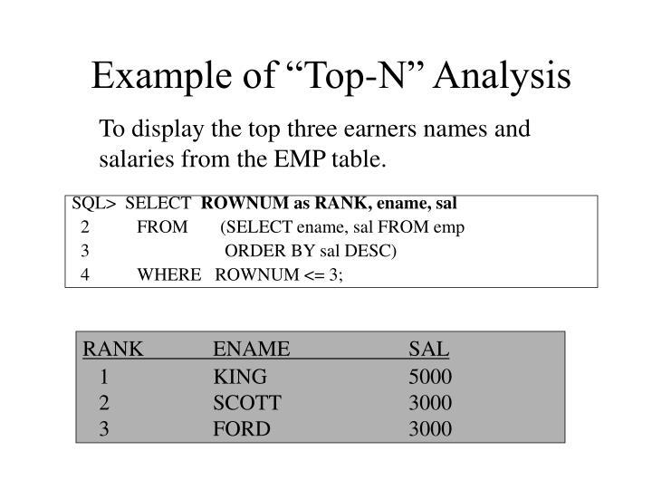 "Example of ""Top-N"" Analysis"
