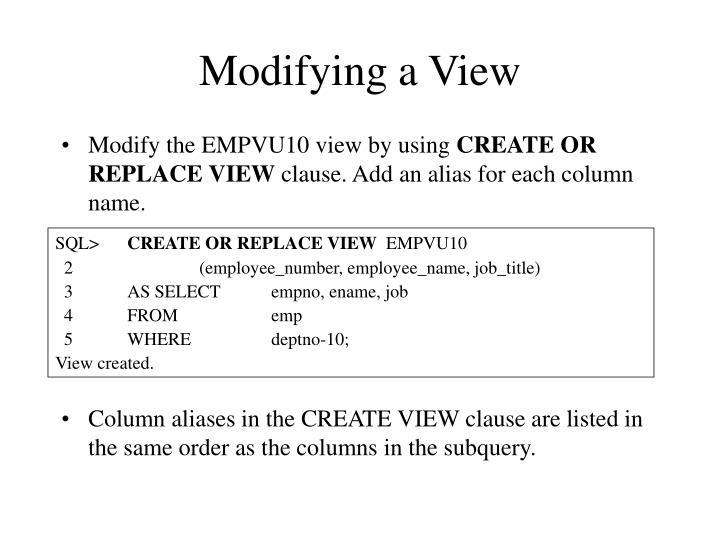 Modifying a View