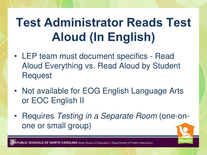Test Administrator Reads Test Aloud (In English)