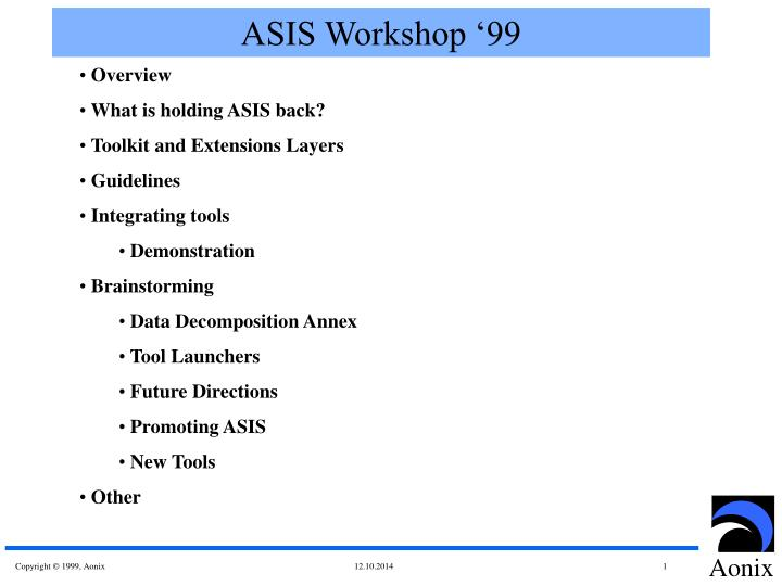 Asis workshop 99