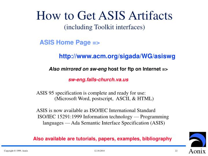 How to Get ASIS Artifacts