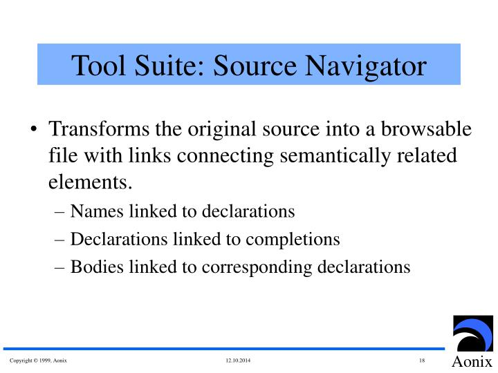Tool Suite: Source Navigator