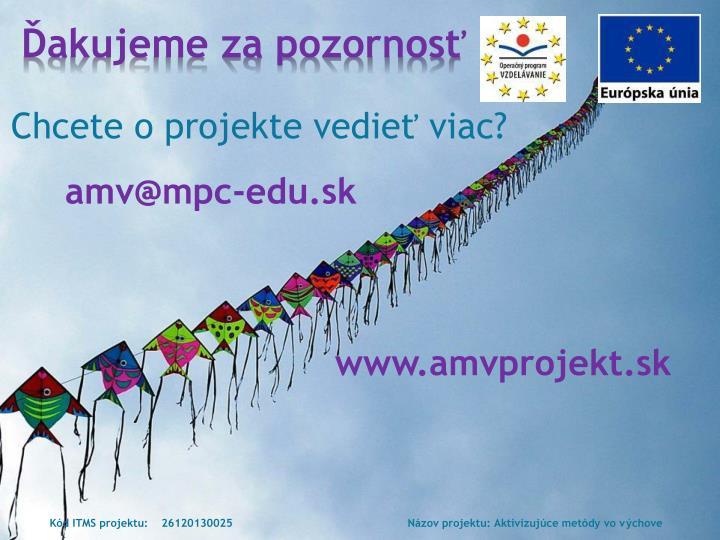 Chcete o projekte vedieť viac?