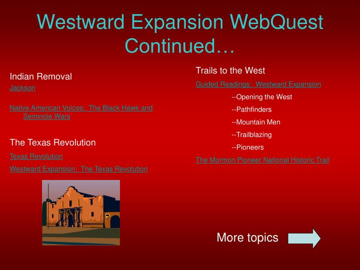 essay questions on westward expansion Question 3 analyze how western expansion contributed to growing sectional tensions between the north and south the 8–9 essay favored westward expansion.
