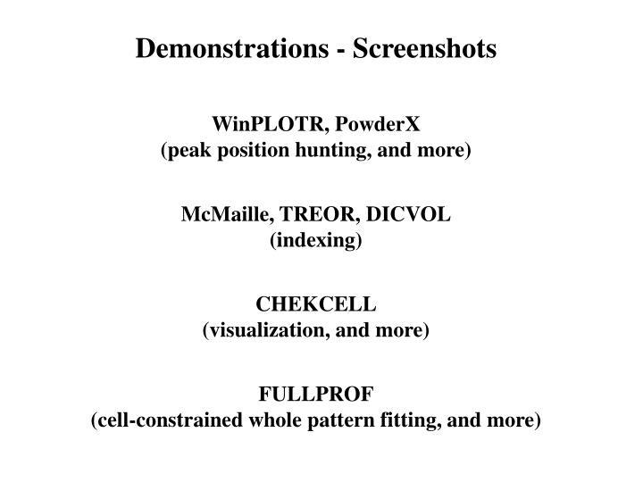 Demonstrations - Screenshots