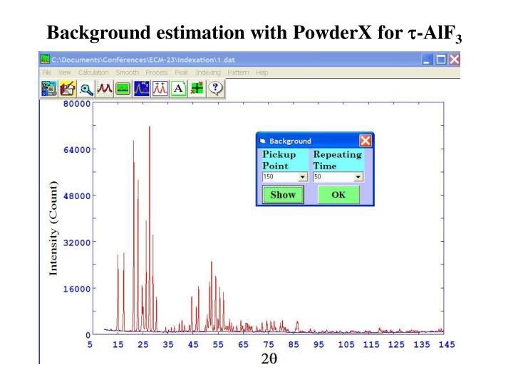 Background estimation with PowderX for